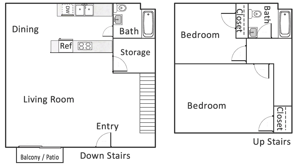 Plan D: Two Bedroom / One and 1/2 Bath - 1,000 Sq. Ft.