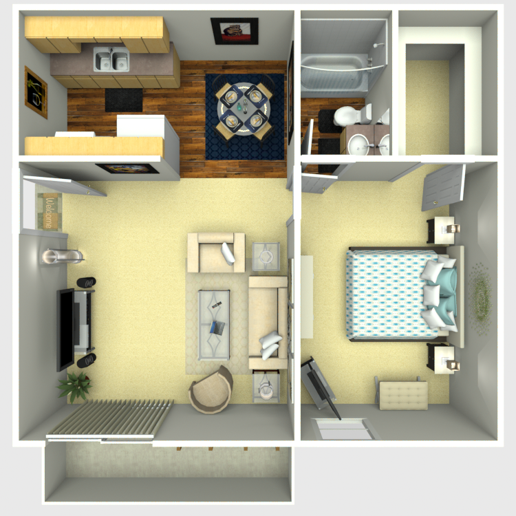 Plan A: One Bedroom / One Bath - 569 Sq. Ft.