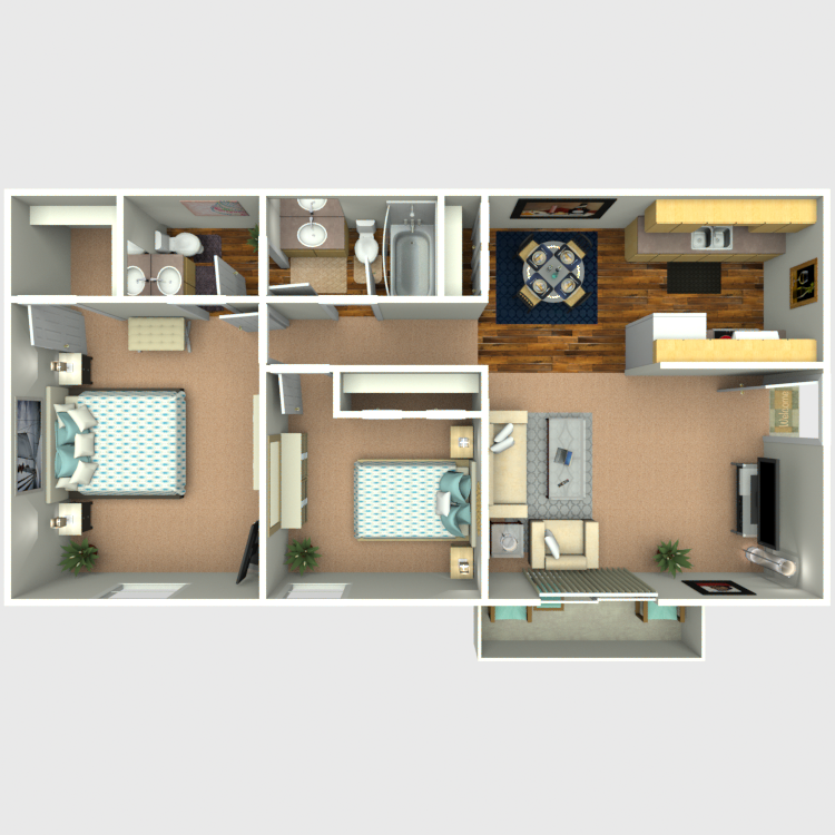 Plan B: Two Bedroom / Two Bath - 834 Sq. Ft.