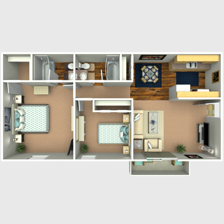 Plan C: Two Bedroom / Two Bath - 880 Sq. Ft.